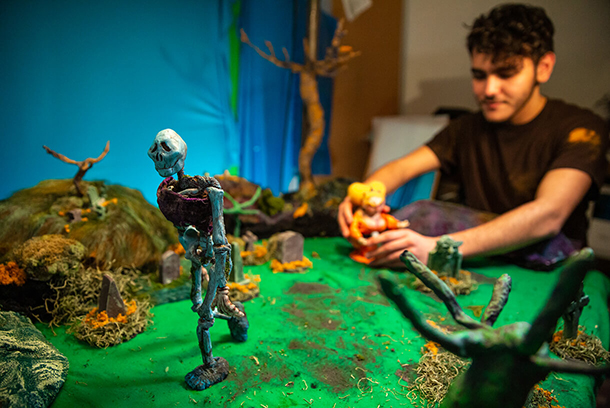 student works on a stop motion animation project