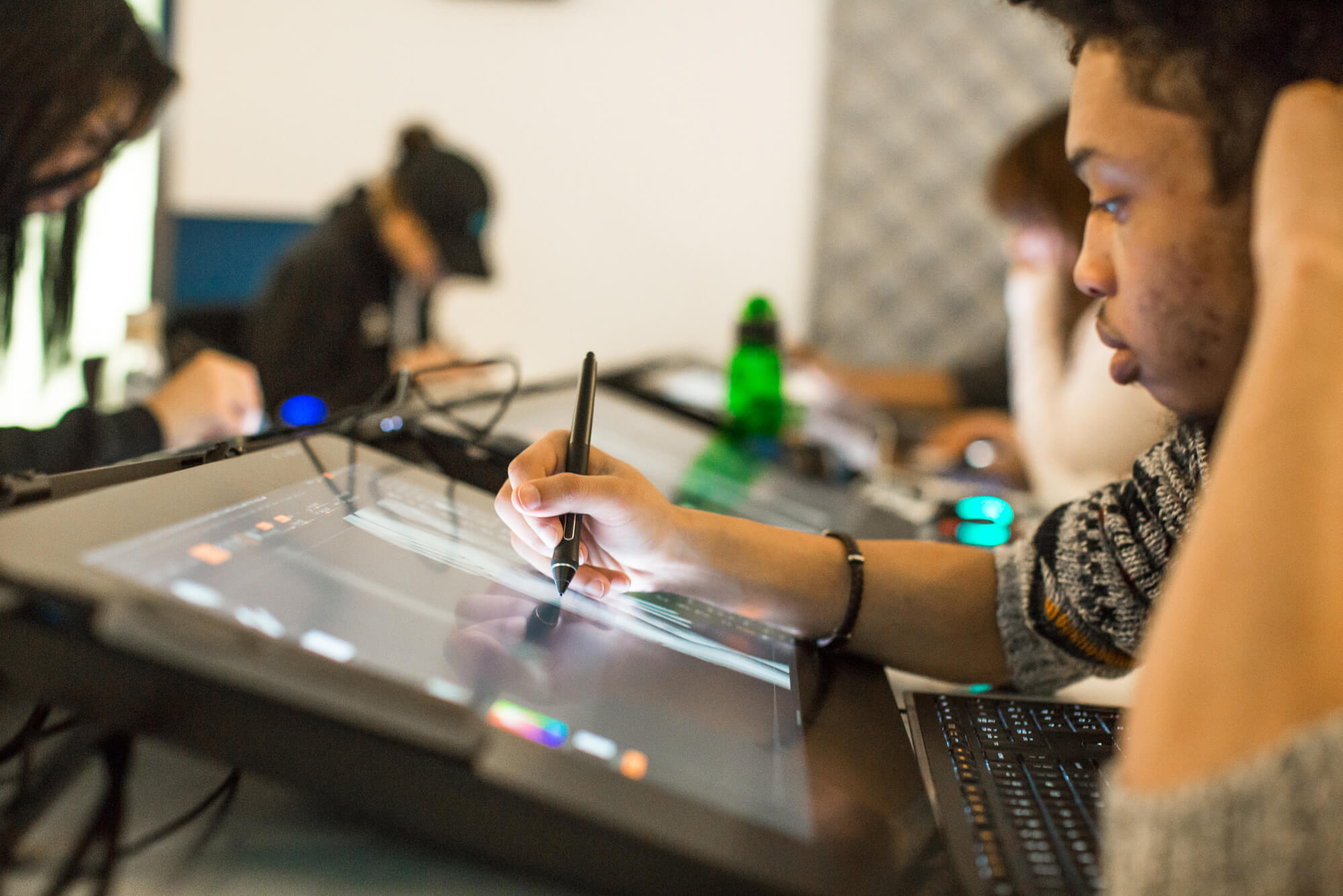 students working in the cintiq lab