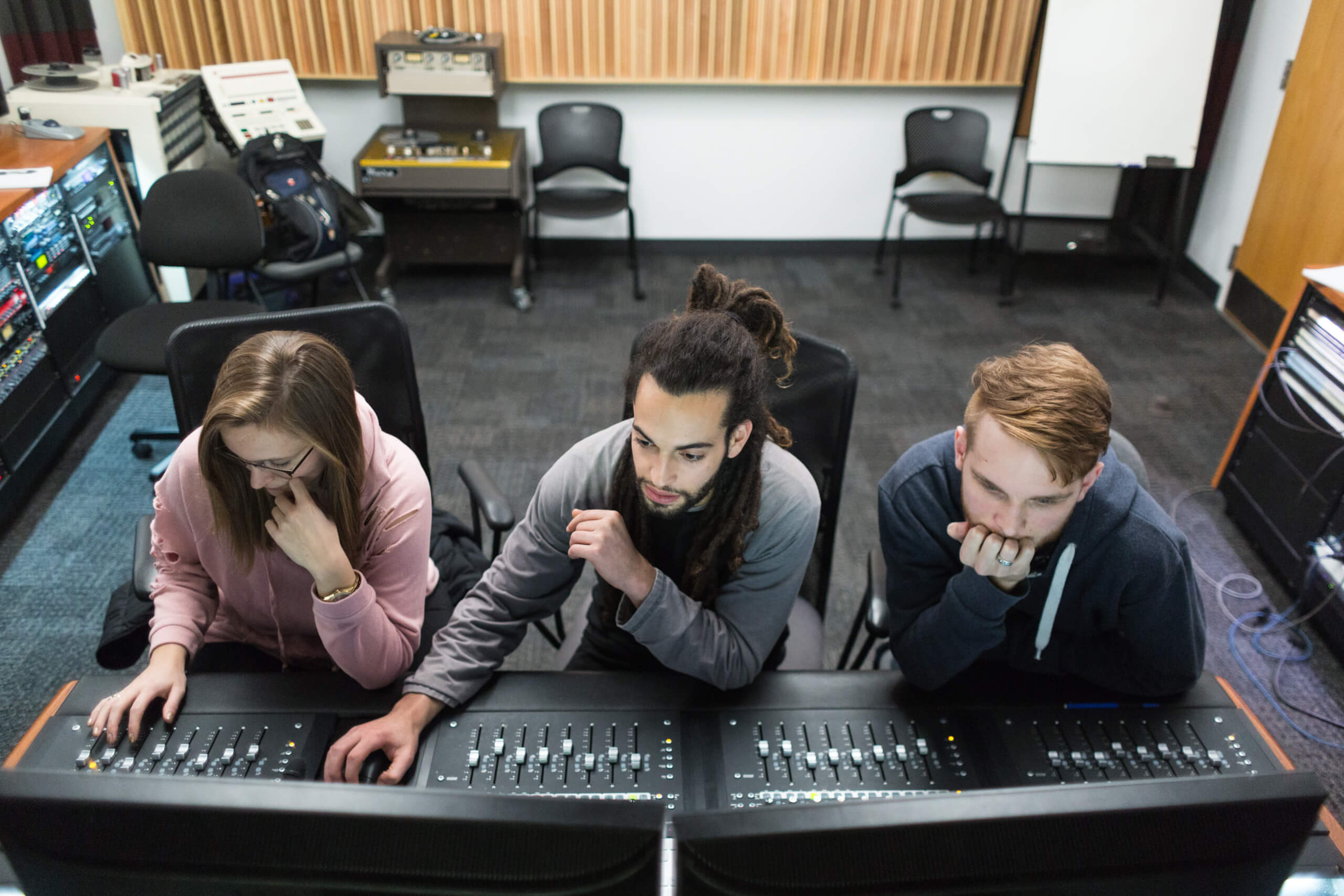 students in the recording studio