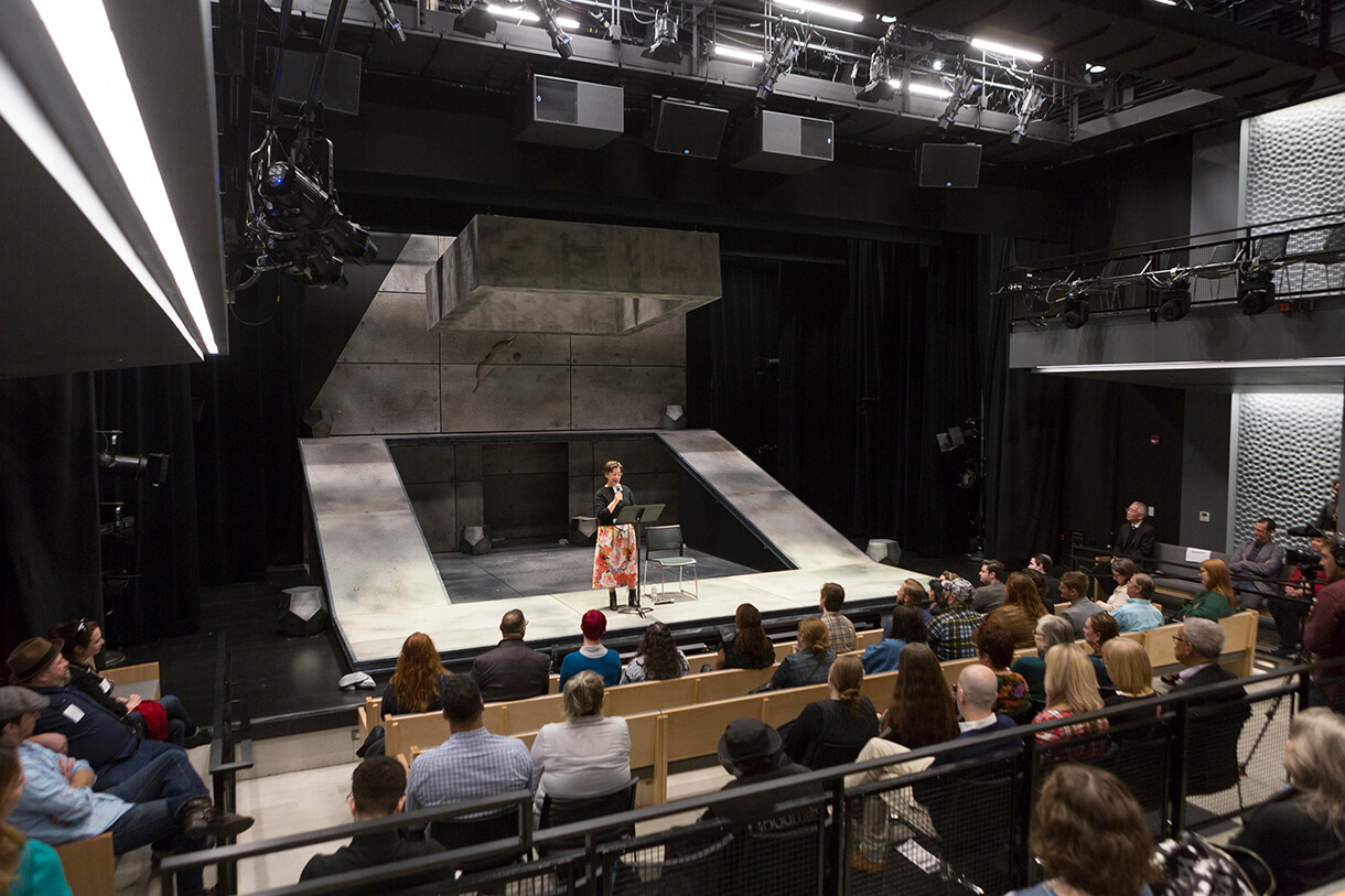 During her keynote address, Steppenwolf Artistic Director and alum Anna D. Shapiro '90, HDR '15 discussed her mentor, the late longtime Theatre chair Sheldon Patinkin (1980-2009), on stage at the new Courtyard Theater at the newly renovated Getz Theater Center. Photo: Jonathan Mathias '10