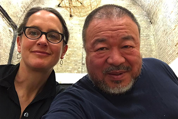 Ai Weiwei and Natasha Egan take a selfie in Berlin.