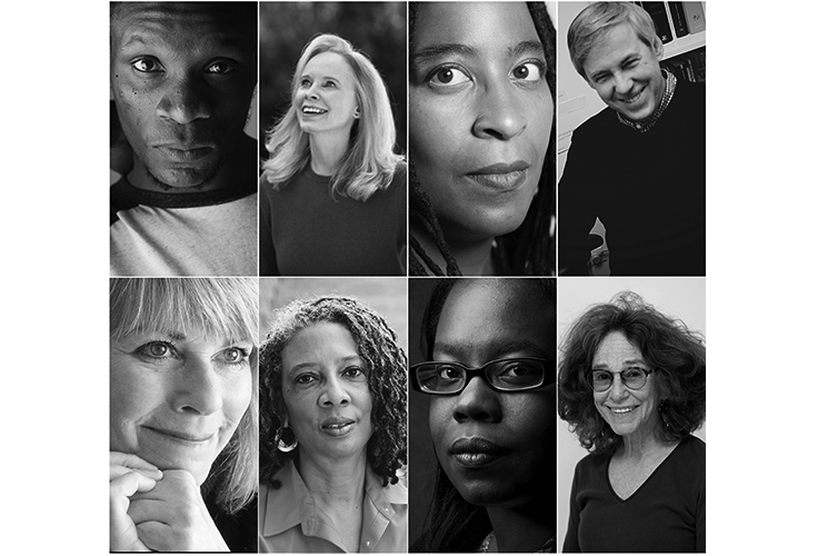 (Clockwise from top left): Ishion Hutchinson, Mary Gaitskill, Camille T. Dungy, David Trinidad, Sharon Solwitz, T.J. Jarrett, Desiree Cooper, and Patricia Ann McNair.