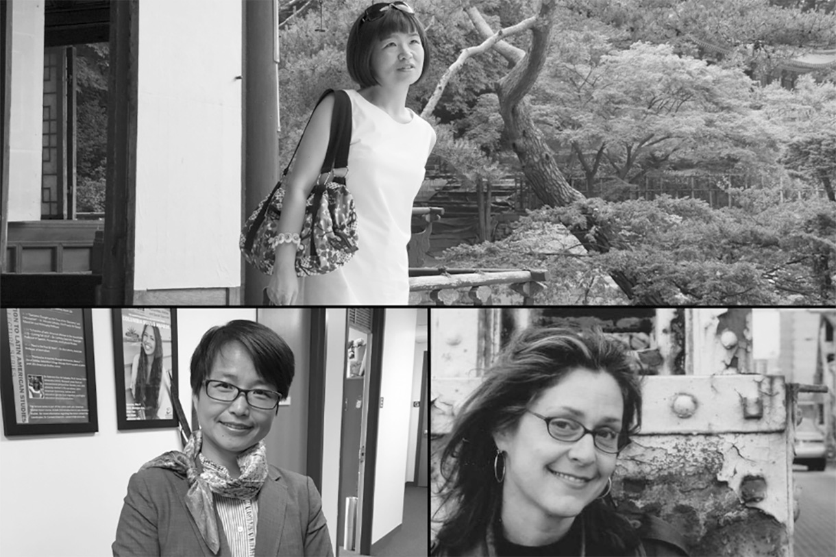 Clockwise from top: Associate Professors Eunju Sohn, Ruth Leitman, and Luying Chen.