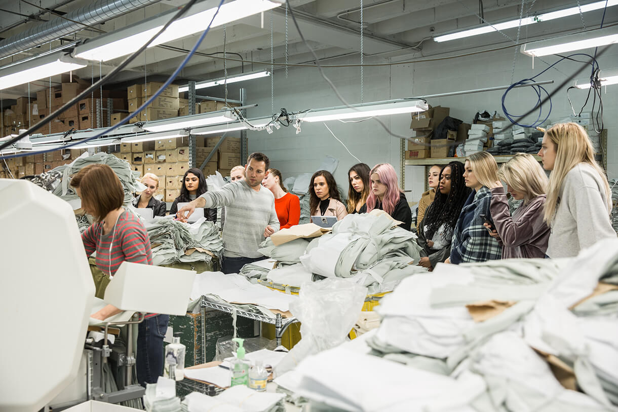 Students in Columbia's Fashion Studies Department visit garment manufacturer Gil Sewing in Chicago. Photo: Phil Dembinski '08.