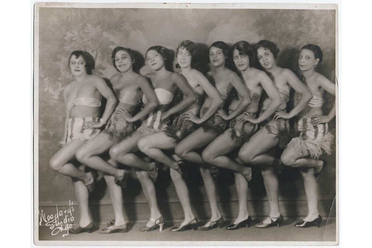 "Woodard's Studio, Chorus Line, c. 1920. Black and white print. 35 x 28cm (13 25/32 x 11 1/32""). Yale Collection of American Literature, Beinecke Rare Book and Manuscript Library."