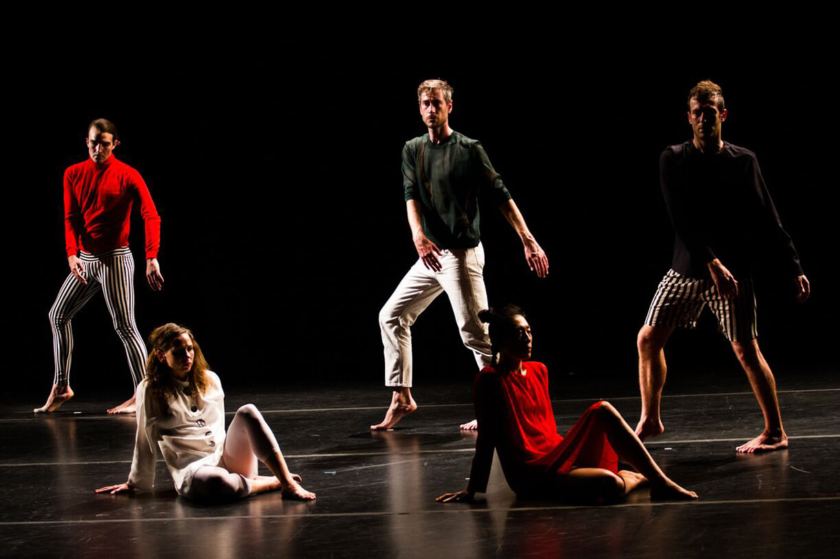 Tere O'Connor Dance. Work: Long Run. Pictured: Emma Judkins, Eleanor Hullihan, Silas Riener, and Lee Searle. Photo: Chris Kayden courtesy of Live Arts Bard.