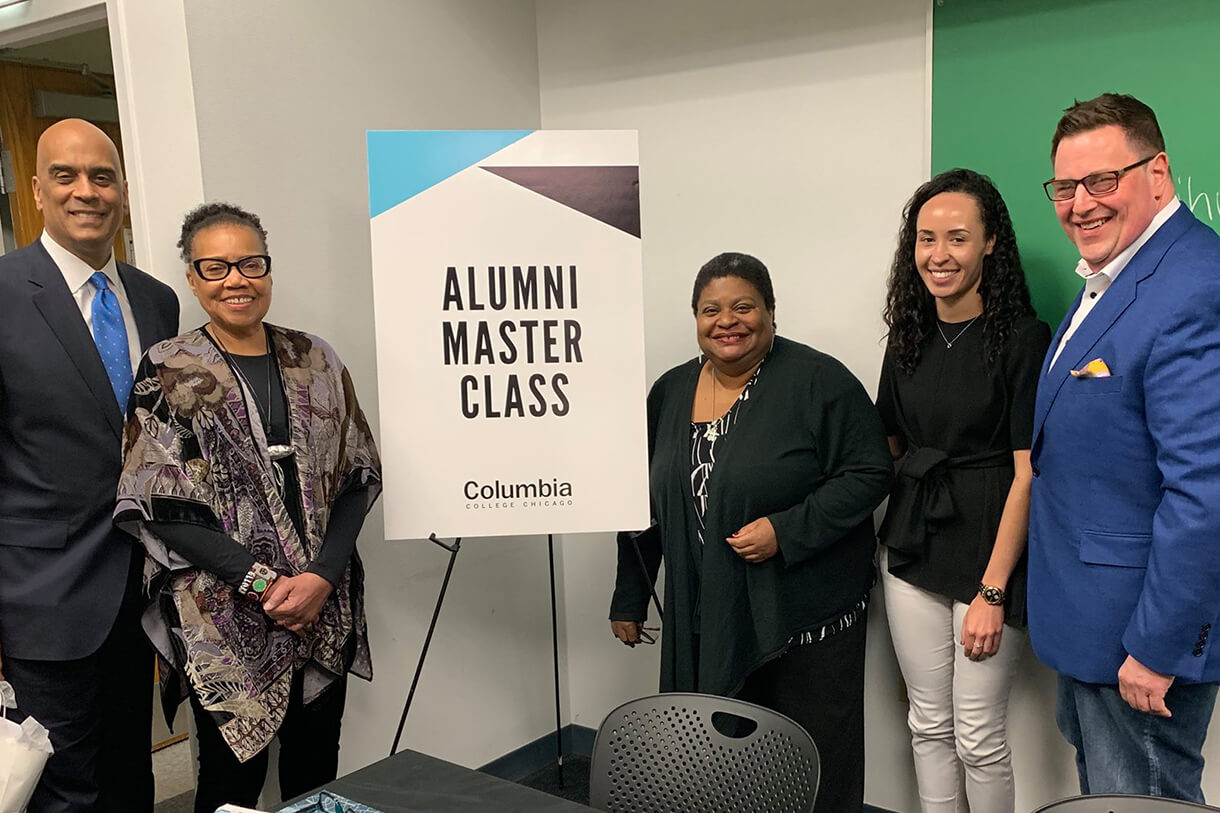 L-R: Alums Jim Williams '86, Mary Mitchell '91 and 2018 Honoray Degree Recipient, Deitra Farr '81, Katherine Davis '15, and National Alumni Board President Michael Wojcik '96. Photo courtesy of Miriam Smith.